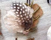 Bohemian Antler, Lace, Feather & Leather Wedding Boutonnieres -Custom Made