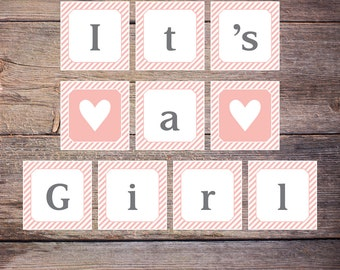 Print at Home It's a Girl Banner Pink and Gray Baby Shower Sign INSTANT DOWNLOAD Shabby Chic DiY Printable File, Shower Game Card - Gemma
