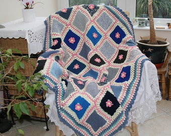 Knitted and Crocheted Blanket Afghan Throw Lap Blanket Granny Squares Blue Cream Pink with Roses by Lynwoodcrafts