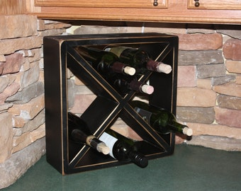 Wine Cube, Rack, Vineyard, Accessories, Distressed, Rustic, Primitive