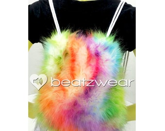 MADE TO ORDER backpack rainbow tie dye fluffies rave bag festival faux fur bag purse hippie trippy rad furry boots legwarmers