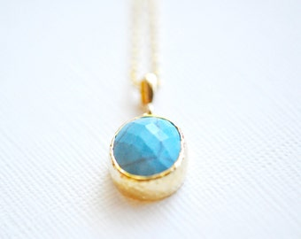 Turquoise Gold Necklace - 14K Gold and Turquoise Stone - Hammered Bezel Pendant - Small Turquoise Necklace