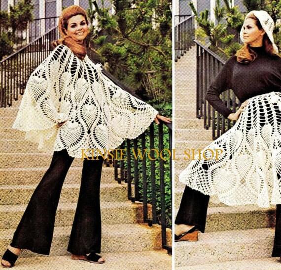 Vintage 70er Jahre häkeln Ananas Poncho PDF