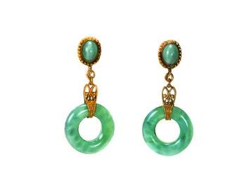 Art Deco Earrings  Peking Glass Drop  Gilt Filigree Dangle  Screw Back 1920s