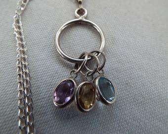 "sterling silver multi gemstone charm pendant blue topaz, citrine, amethyst  necklace 18"" chain"