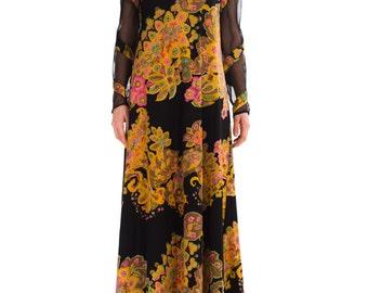 1960s Vintage Gorgeous Paisley Print Dress  Size: S/M