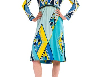 1960s Vintage Charming Bright Yellow and Blue Geometric Print Dress  Size: S/M