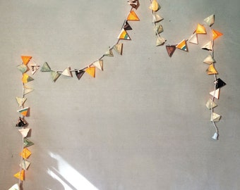 Unique Lights - THE BRYOPHYTA - paper lanterns in sage and turmeric light garland with watercolor textures and abstract color blocking