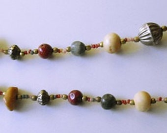 Vintage Polished Stone Bead Necklace, rock gemstone jewelry, natural stones, collar necklace