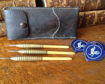 Brass Dart Set, Leather Case, Made in England, Tungsten, Rooster Flights