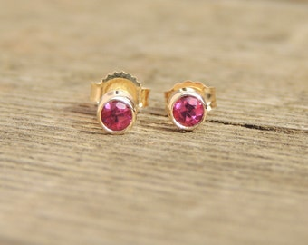 Natural Pink Tourmaline Stud Earrings, Beautiful, Earth-mined, gold earrings, silver earrings, Pink Tourmaline Earrings, stud earrings