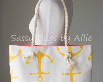 Anchor Tote Bag-Large Bag/Purse with Rope Handles-Bright Yellow & Coral Pink-Nautical-Premier Prints Anchors/Corn Yellow