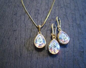Bridesmaid Jewelry/ New Swarovski White Patina Crystal Jewelry Set/Bridesmaid Gift/Wedding Jewelry/ Bridal Party/ White Patina Crystal