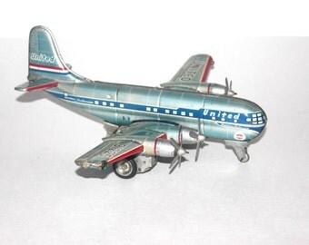 Vintage 1950s Nomura Nikko Gangu Kogyo Tin Litho Friction Light Up Stratocruiser Plane, Antique Alchemy