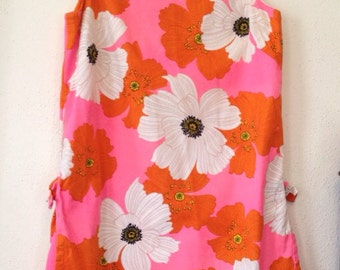 VINTAGE 1960s Psychedelic Hawaiian Floral SHIFT DRESS