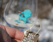 Miniature Beach SIZED To Fit  in a WINE GLASS - Keep Calm and Pretend You are at the Beach  - by Landscapes In Miniature