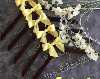 HUGE SALE Six (7)  Wedding Hangers/ personalized / natural finish / cherry finish /name hanger/ wire hanger/ personalized / bridal party