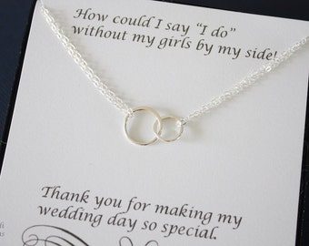 10 Bridesmaid Infinity Necklaces, Bridesmaid Gift, Circles, Sterling Silver, Good Karma, Circles, Thank you card, Sisterhood, Rings
