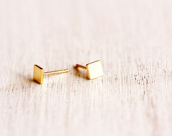 gold post earrings, tiny gold stud earrings- 24 K gold plated square studs