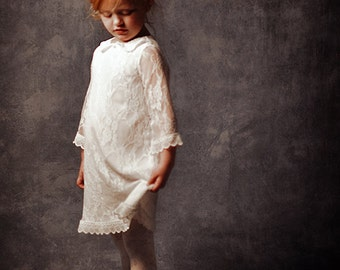On SALE /// White Lace Flower Girl Dress, First Communion Dress, Lace Dress for girls and toddlers, White Christmas dress
