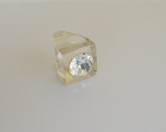 Clear LUCITE Ring with Large Rhinestone 50s Vintage