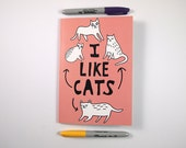 A5 Cat notebook - Plain notebook - Cat notebook - I like cats - Cat sketchbook - cat journal - cat gifts - cats - cute cat - cat - black cat