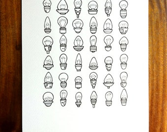 original illustration - 'brighten' - hand drawn lightbulb art, grid pattern light bulb artwork in black and white.