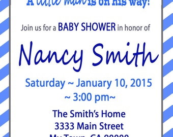 Little Man, Bow Tie, Baby Shower Invitations, Chevron Stripes, Navy Print at Home DIY
