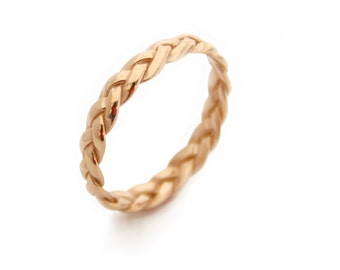 Braided Ring, Braided Yellow Gold Ring, Alternative wedding Ring, braided wedding band, Commitment Ring, Gold Rings