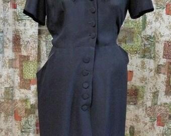 1950s Black Rayon Dress #218
