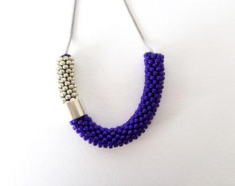 Tube necklace/Minimalist jewelry/Blue Rope Necklace/Steel Necklace/Lightweight Necklace/Everyday Jewel/Color Block Jewelry