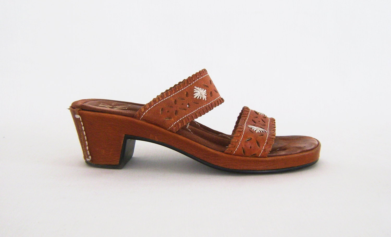 Boho Leather Sandals Brown Slide Wedges Ladies Size 6 1 2