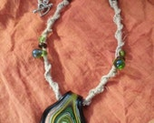 Glass Blown Black, Green and Gold Pendant Hemp Necklace