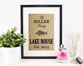 Lake House Decor | Lakehouse Sign | Lake Life Decoration | Burlap Print | Personalized Lake Sign | Fish Wall Art | House Warming Gift