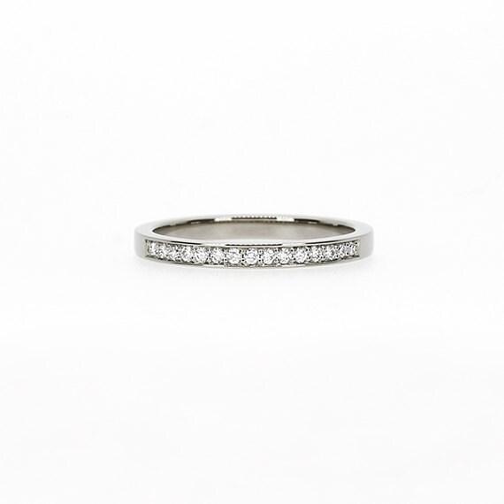 Diamond wedding band, Palladium ring, Diamond ring, Palladium wedding Band, Thin wedding, ring, Wedding band, micro pave, eternity