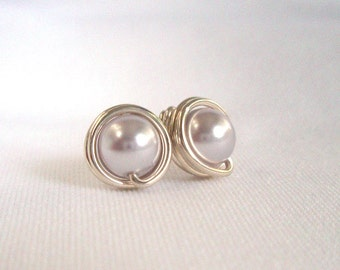 Earings for Bridesmaid Light Purple Pearl, Sterling Silver Studs, Wire Wrapped Jewelry Handmade, Light Purple Wedding, Bridesmaid Gift