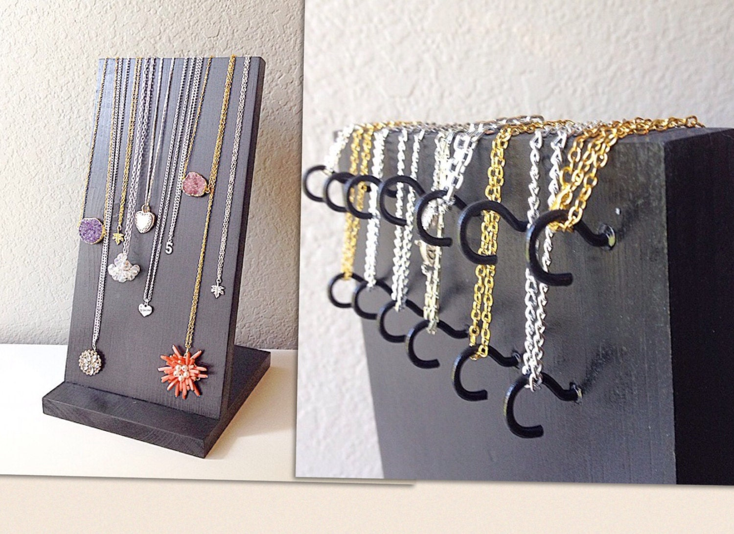 Extra long necklace holder skinny or charm by polkadotdrawer for Display necklaces craft fair