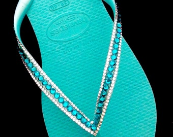 Turquoise Teal or Ice Blue Thongs w/ Swarovski Crystal Havaianas Slim Sophisticate Flip Flops Sandals Jewelled Rhinestone Bling Beach Shoes