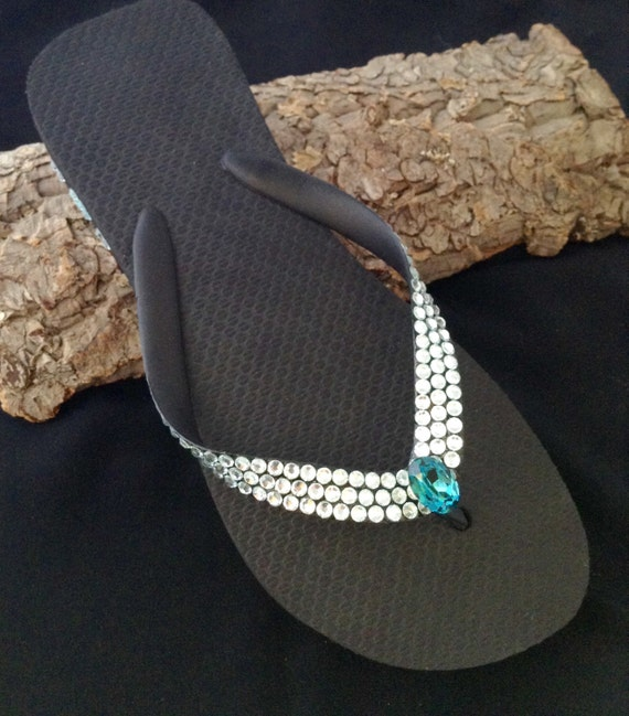 Custom Havaianas flat or Wedge Crystal Flip Flops w/ Rare Light Azore Blue Swarovski Rhinestone Jewels Pale Ice Bling Beach Wedding shoes