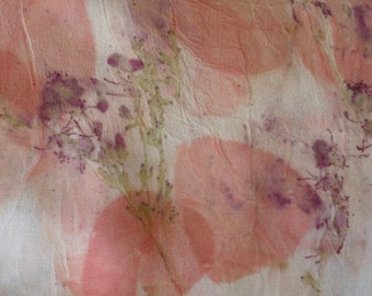 Unique eco print silk fabric in beige with floral pattern. All natural materials. Large silk wrap.