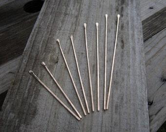 Set of Two Bronze Hair Sticks - Minimalist Hammered Bronze Long Hair Accessory - Haarstab