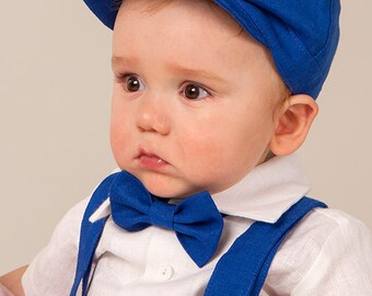Boy newsboy hat suspenders bow tie baby boy newsboy linen hat ring bearer newsboy SET of 3 royal blue cap boy wedding newsboy hat photo prop