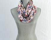 Tattoo Flash on Pink Cotton Loop  Eternity Scarf with Hidden Pocket