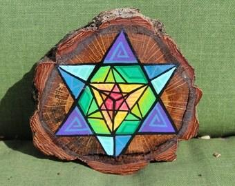 Hand Painted Sacred Geometry Mandala on Cherry Wood