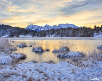 Bavarian Dawn - Germany Landscape Photography - Winter Landscape, Snow Art, Karwendel Mountains, Colorful Sunrise, Winter Lake