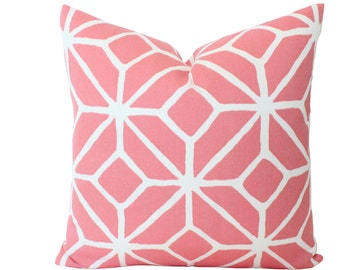 Schumacher Trina Turk Trellis Print Pillow Cover in Watermelon Pink