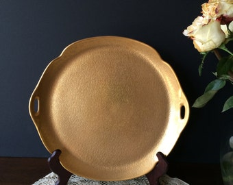Vintage Pickard China Rose and Daisy 24 Karat Gold Encrusted Sandwich Tray or Cake Plate