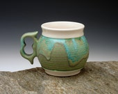 Large coffee mug. Turquoise, green and white coffee mug with ergonomic two finger handle. Great gift. handmade pottery. ceramics. Tea cup