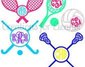 Sports Vinyl Monogram Decal, Tennis Decal, Tennis Monogram, Field Hockey Decal, Volleyball Decal, Lacrosse Decal, Sports Monogram