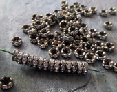 6 mm rhinestone rondelle beads wavy edge antiqued bronze brass clear spacer vintage style small, lot of 20 pcs